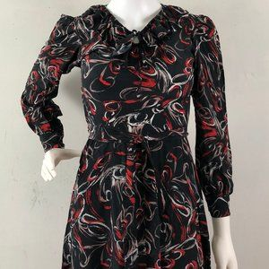 Vintage 1970s Handmade Silk Black Red  Dress XS
